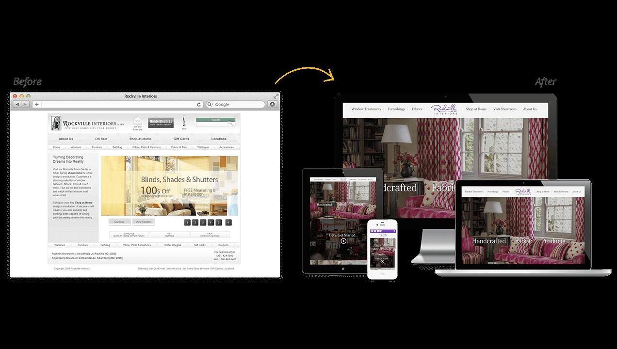 Rockville Interiors Website Redesign Before After