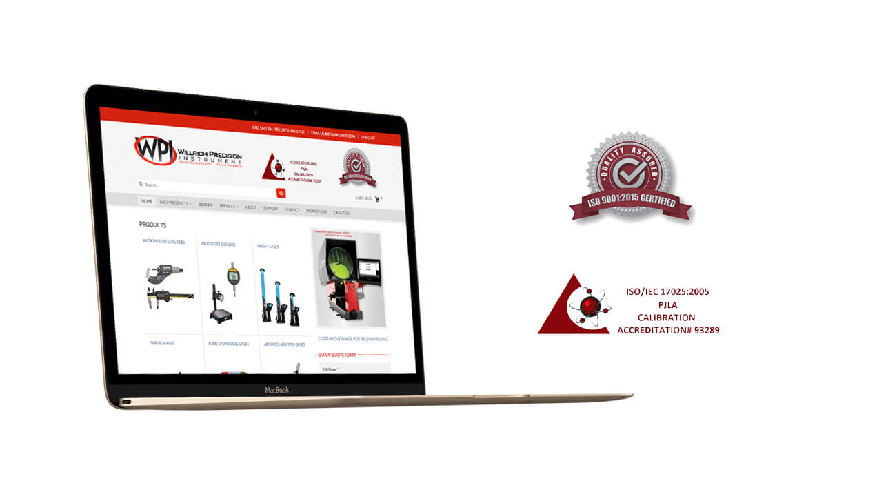 Willrich Precision Instruments website on a laptop