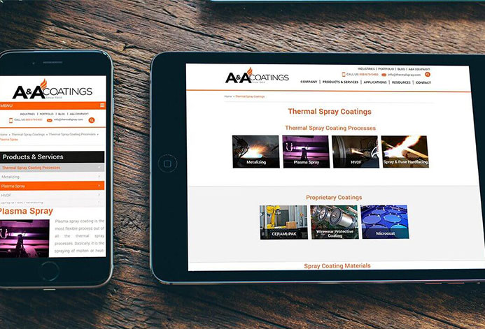 A&A Thermal Spray WordPress Website