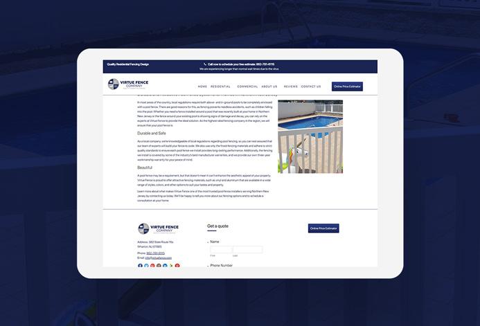Virtue Fence Company WordPress Website