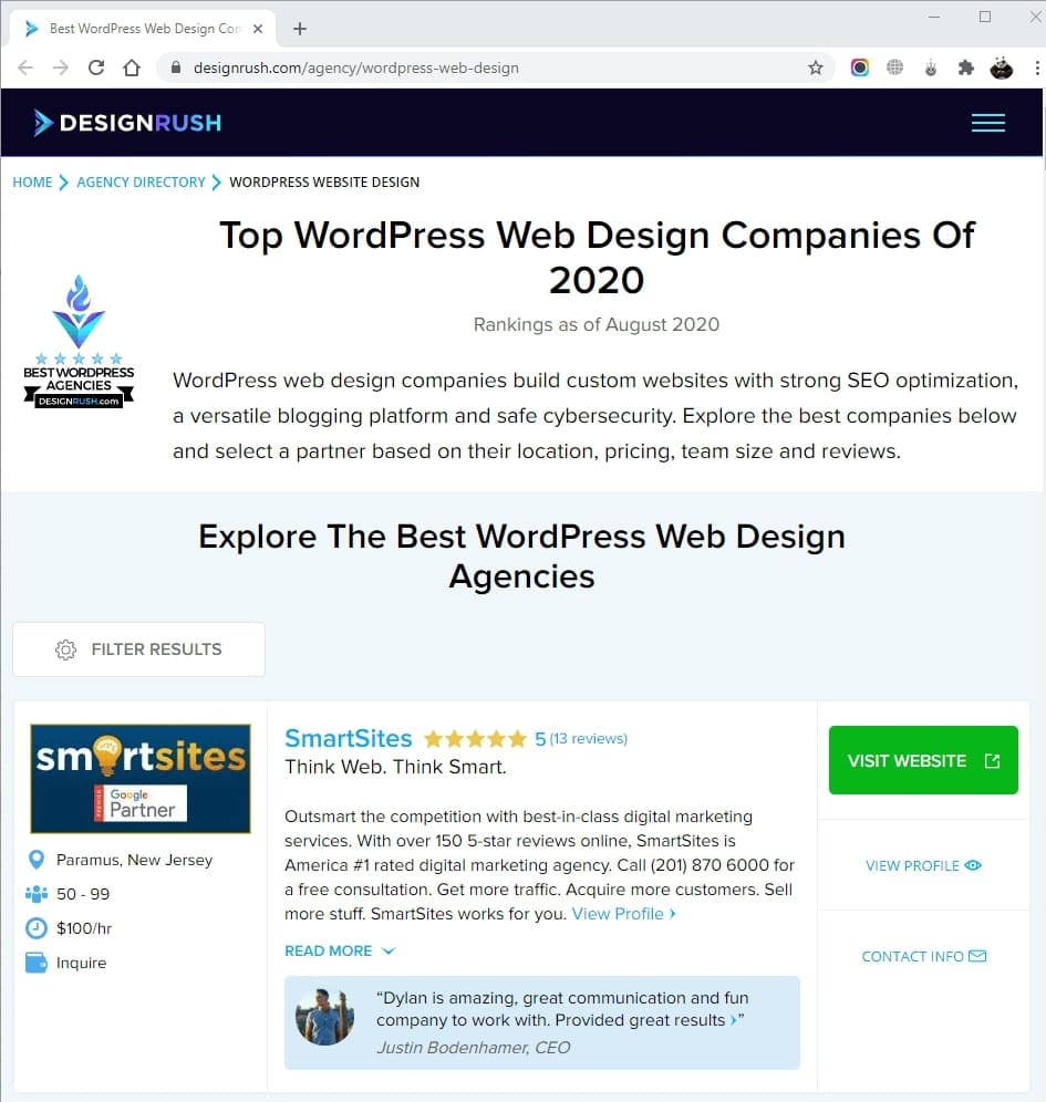 SmartSites Listed in Top WordPress Web Design Companies